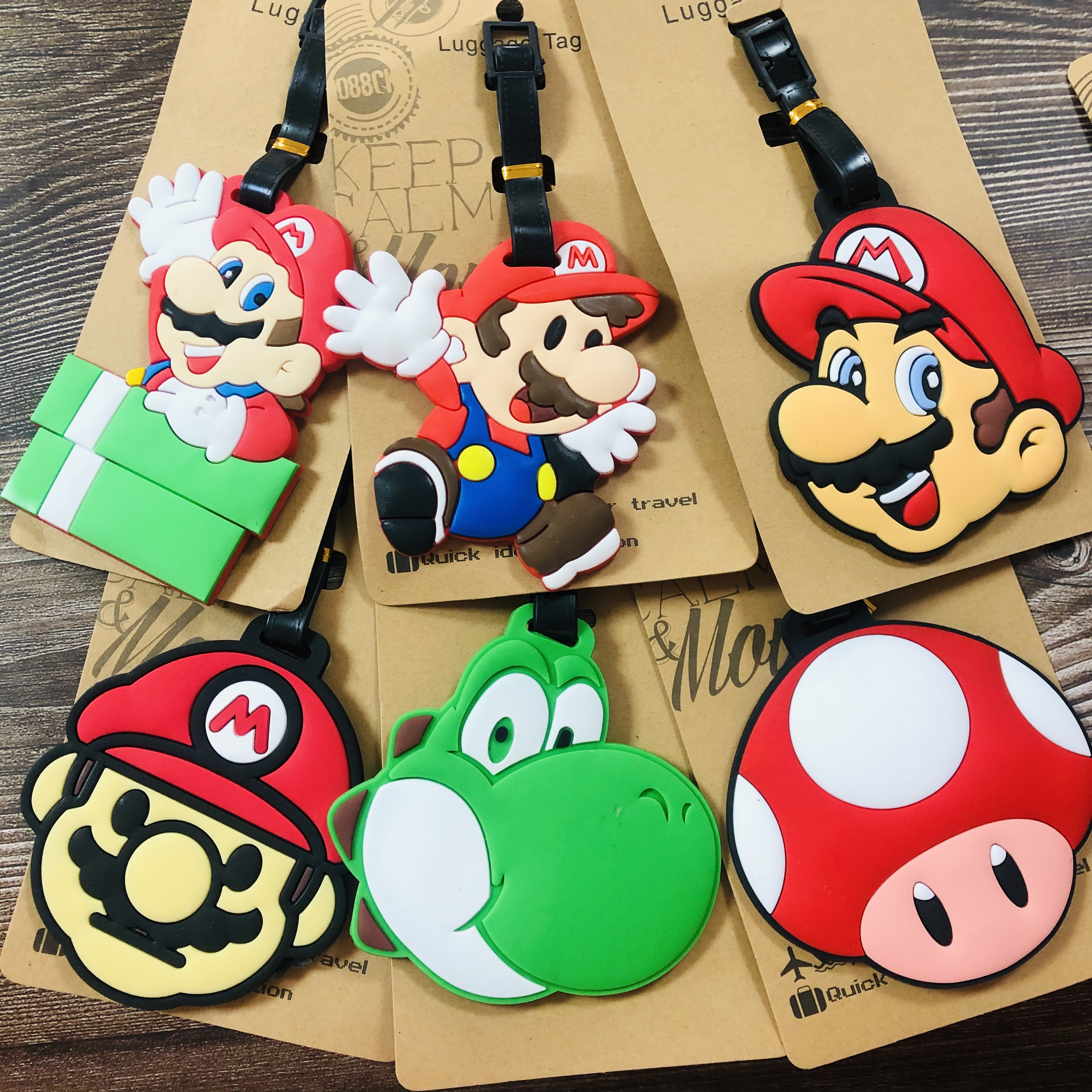 IVYYE 1PCS Super Mario Bros Anime Luggage TagTravel Accessories Suitcase ID Address Portable Tags Holder Baggage Labels New