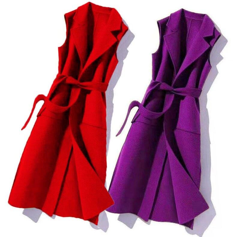 Новинка 2020, женский осенне-весенний шерстяной жилет, пальто, женское длинное пальто, повседневный однотонный жилет без рукавов, жилет, куртк...
