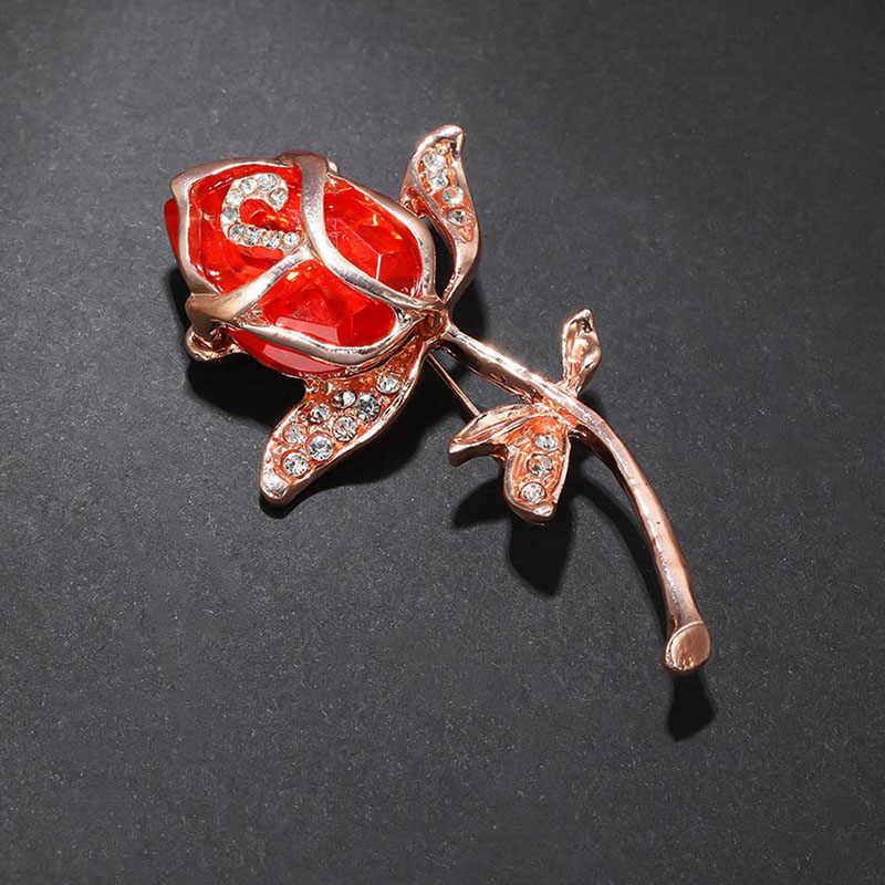 2019 Wanita Alloy Crystal Bros Aksesoris Indah Crysta Rose Merah Hijau Bunga Bros Pin Perhiasan