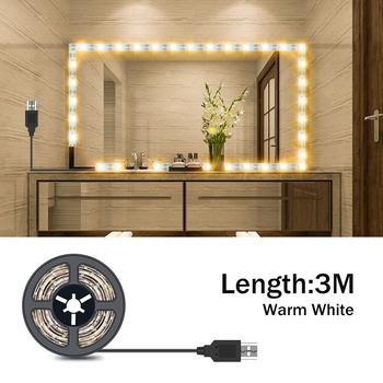 USB toaletka światło lustrzane LED makijaż lampa 1m 2m 3m 4m 5m taśma wstążkowa LED lustro do sypialni światło lustrzane s LED do makijażu w łazience Ampule tanie i dobre opinie NoEnName_Null CN (pochodzenie) PRZEŁĄCZNIK LED Makeup Mirror Vanity Light Strip 50cm 1m 2m 3m 4m 5m 30 60 120 180 240 300leds