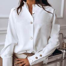 2021 novas camisas casuais femininas moda lapela botão topos para mulheres blusa de manga longa elegante cor sólida escritório senhoras camisas