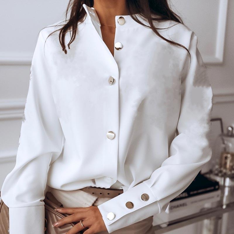 2021新女性のカジュアルシャツファッションラペルボタントップス女性長袖ブラウスエレガントなソリッドカラーのオフィスの女性シャツ