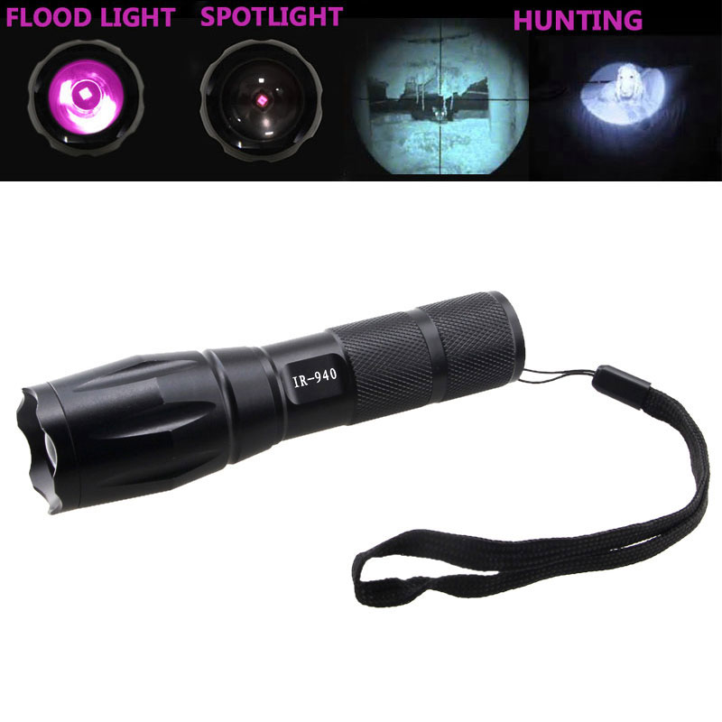 940nm 7W Zoomable IR LED Rechargeable Flashlight Linterna Torch 18650/3XAAA Outdoor Camping Powerful Led Flashlight