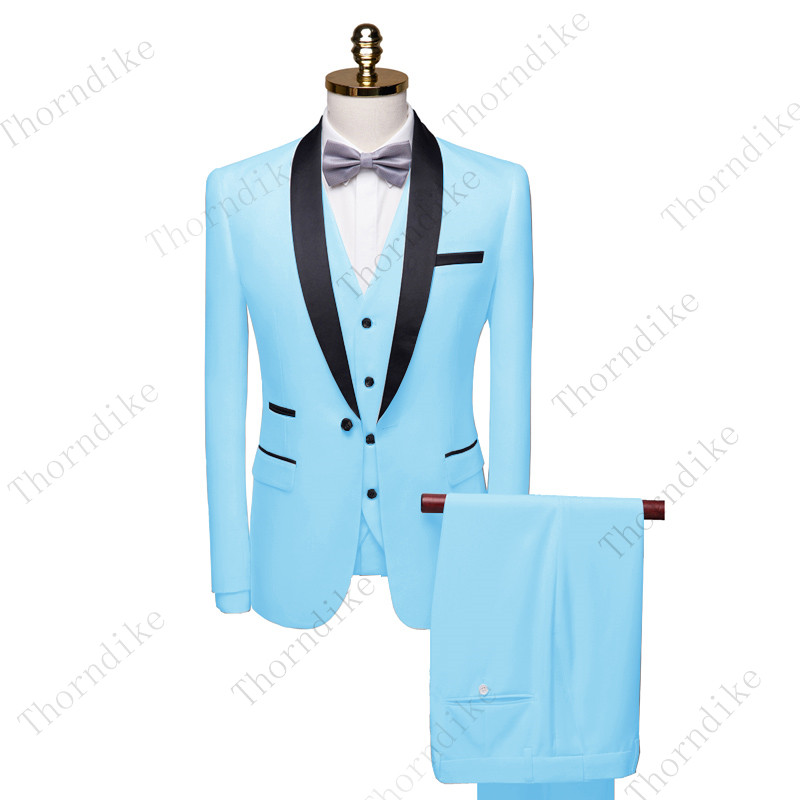 Thorndike 2020 Navy Blue Mens Suits 3 Pieces Formal Business Blazer Tuxedos Shawl Lapel For Wedding Groom ( Jacket+Vest+Pant)