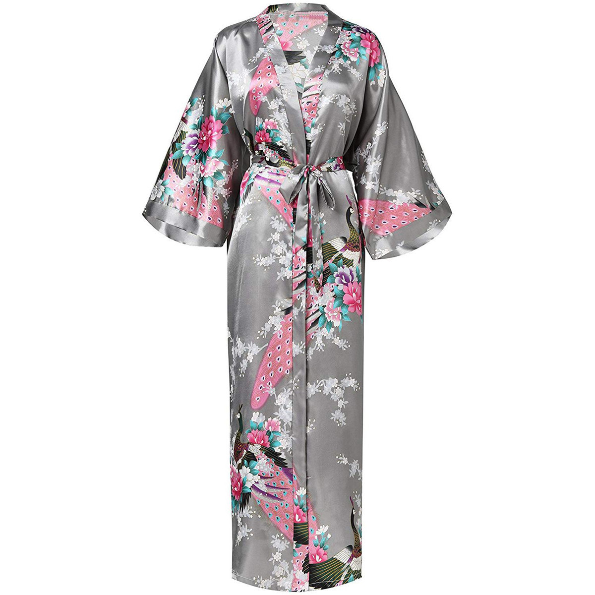 Exquisite Print Flower Women  Robe Kimono Gown Elegant Gray Long Bathrobe Gown Satin Soft Material Bride Wedding Robe Sleepwear