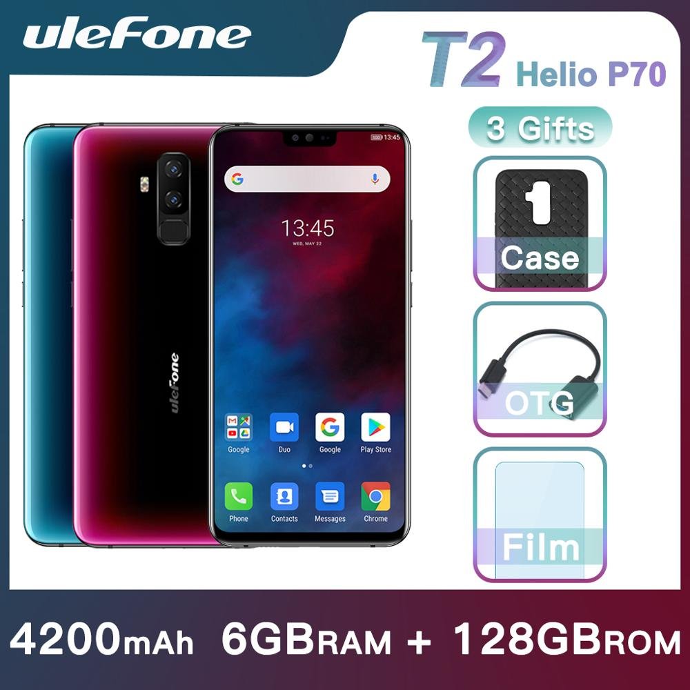 Ulefone T2 Smartphone Android 9.0 double 4G téléphone portable 6GB 128GB NFC octa-core Helio P70 4200mAh 6.7