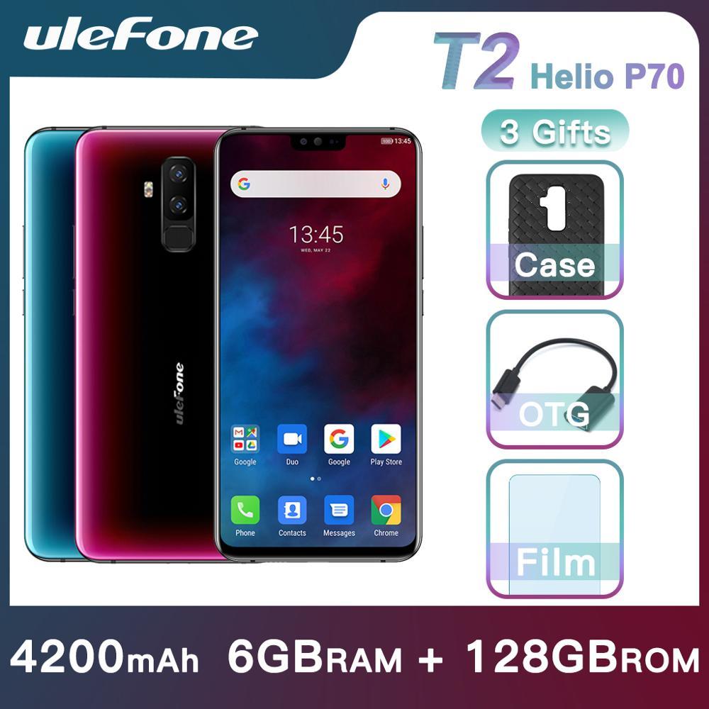 Ulefone T2 Smartphone Android 9.0 Dupla 4G 6GB 128GB NFC Octa Telefone Celular-core Helio P70 4200mAh 6.7