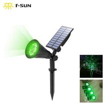 T SUNRISEกลางแจ้งพลังงานแสงอาทิตย์ปรับมุม 4 LED Waterproof Garden LightสำหรับYARD PATHสีเขียว