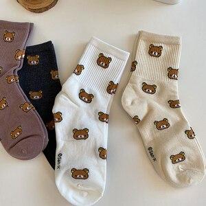 1 Pair Cute Cartoon Women Cotton Socks Fashionable Kawaii Bear Socks Japanese Korean Harajuku Slouch Female Socks Black White