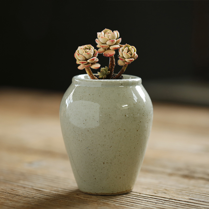 Home Garden Decoration Simple Bright Glaze Ceramic Mini Succulent Flower Pot Hand Painted Container Balcony Green Planting Just6F