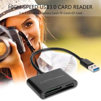 High-Speed Mini USB3.0 Card Reader Supporting Hot Swap Security Reliable 3 in 1 Universal Memory Card and TF Card and CF Card