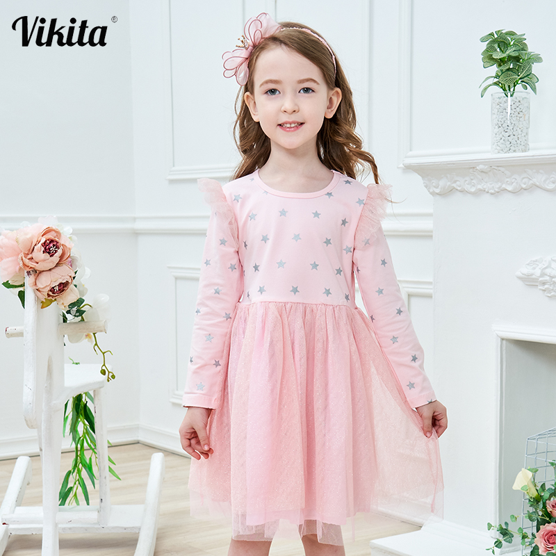 VIKITA Brand New Children Princess Dress Girls Star Tutu Dresses Baby Girl Long Sleeve Clothes Kids Party for
