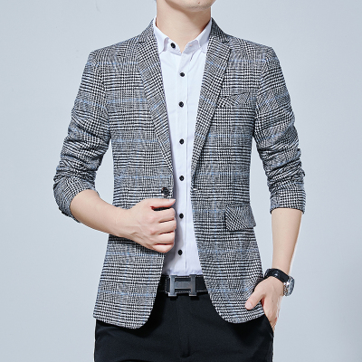 2019 Spring Autumn Luxury Plaid Men Blazers New  Fashion Brand High Quality  Slim Fit  Suit Chinese Jacket