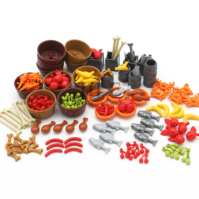 Moc Food Building Blocks Fruit Apple Banana Frish Dish Drumstick Sausage Bone DIY Bricks Bulk Set Compatible with City View Toys
