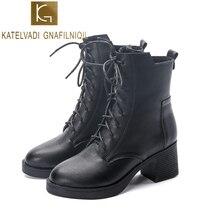 KATELVADI 6CM High-heeled Winter Boots Black PU Leather British Style Womens Shoes Round Lace Up shoes  K-504