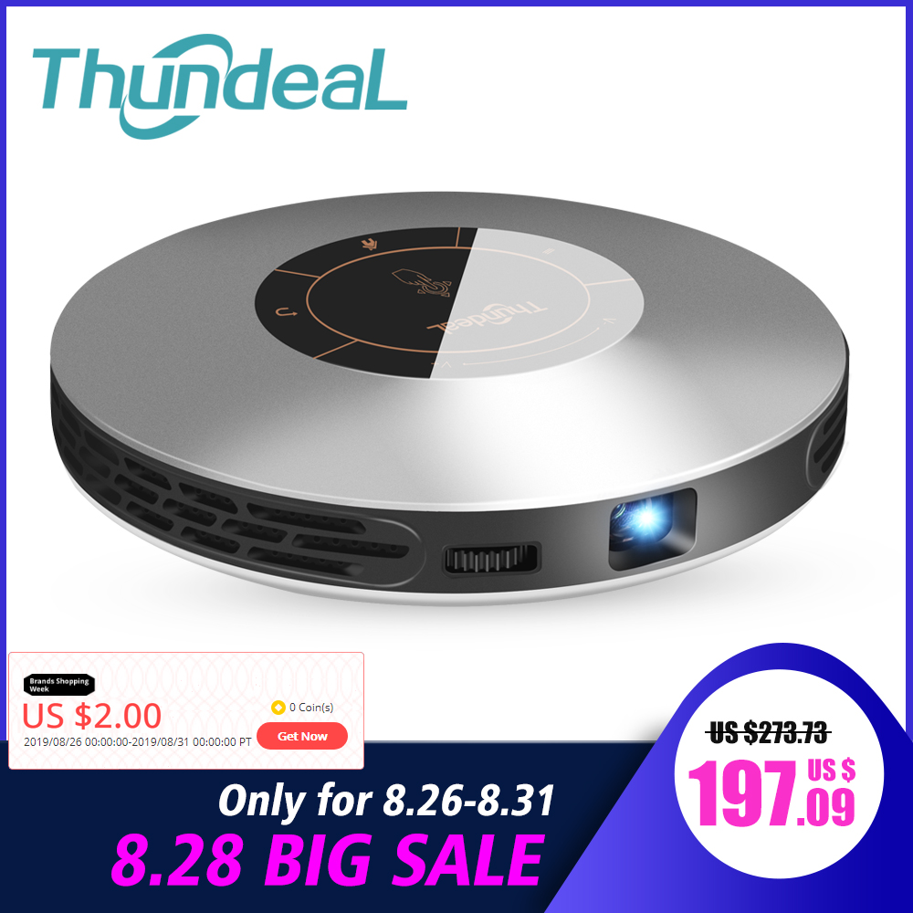 Thundeal DLP Projector Beamer Pocket LED 3D HDMI Mini Android 7-Pico T18 4K for 16G 32G