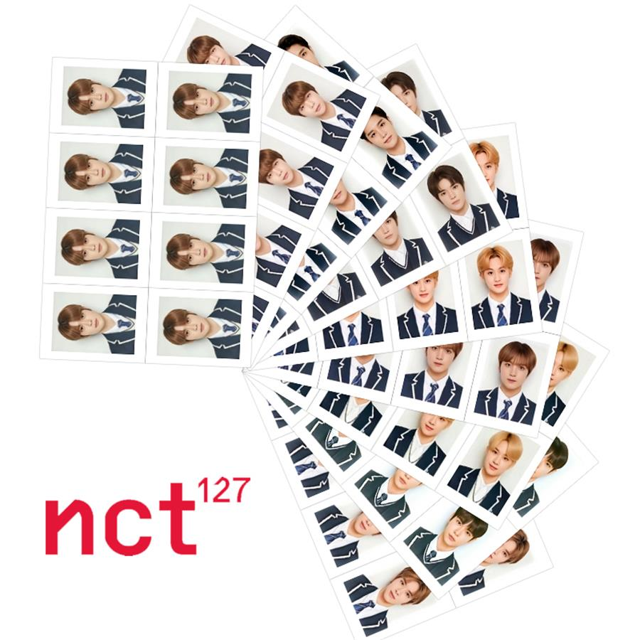 Kpop NCT127 Uniform Photocard NCT Haechan Taeyong Yuta Mark School ID Photo Collective Cards 1 Sheet
