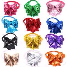 50 шт., рождественские аксессуары для собак, Блестящие бабочки для домашних собак, регулируемые рождественские галстуки бабочки для собак, кошек, аксессуары для маленьких и средних домашних животных