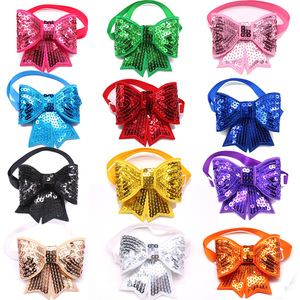 Image 1 - 50pcs Christmas Dog Accessories Shining Pet Dog Bow Tie Adjustable Christmas Dog Cat Bowties for Small&Medium Pet  Accessories