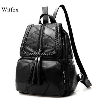100% Genuine leather Big capacity backpack for women weaving tassel sheepskin travel bag sac transport pack laptop cell