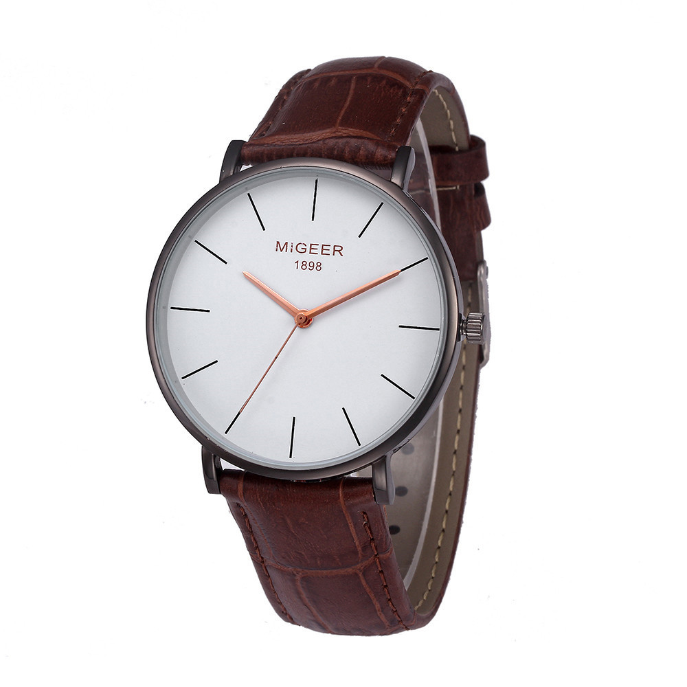 MIGEER Sports Mens Watches Leather Strap Wrist Watches Mens Top Brand Black Dial Quartz Analog Watch Male Clock Orologio Uomo