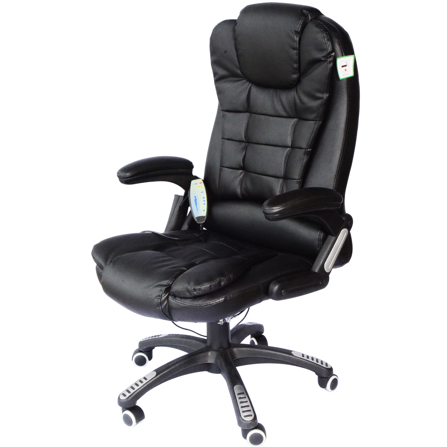 HOMCOM Faux Leather Office Chair With Heating Massage Chair 62x68x111 121 cm Black   - title=