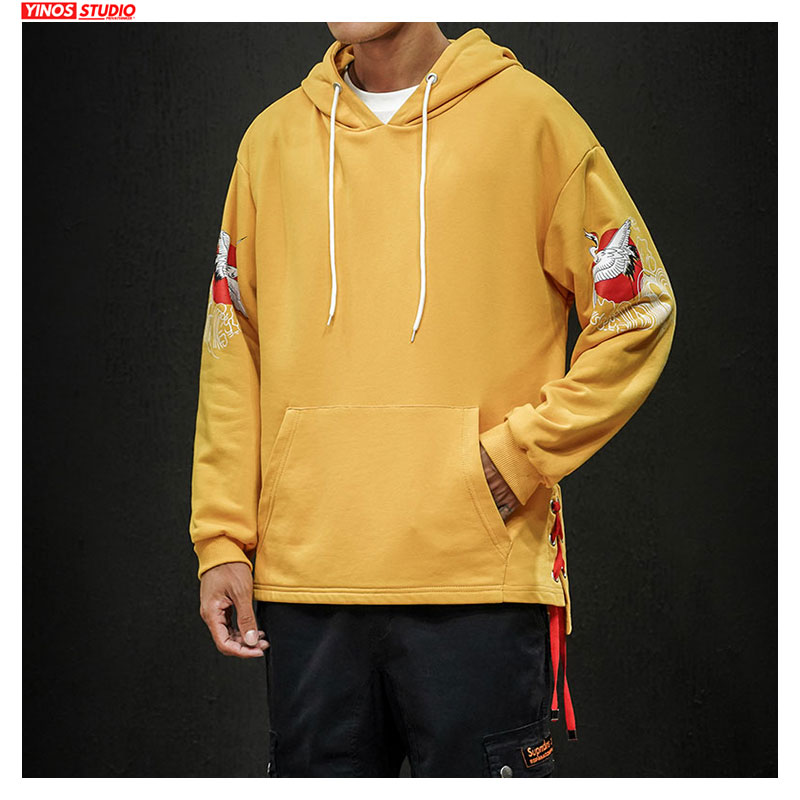 Dropshpping Japanese Autumn Men Hoodies 2019 Chinese Style  Print Side Ribbon Cross Man Hooded Sweatshirts Male Cotton Pullover