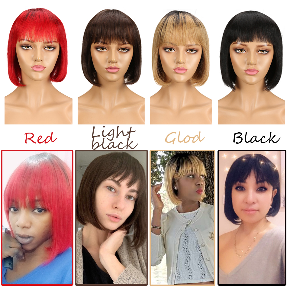 Sleek Short Cut Bob Wig Remy Human Hair Wigs With Bangs Brazilian Red Silky Straight 8 Inch 150% Density Blue Pixie Cut Wig