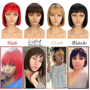 Sleek Short cut Bob Wig Remy Human Hair Wigs With Bangs Brazilian Red Silky Straight 8 Inch 150% Density Blue Pixie Cut Wig(China)