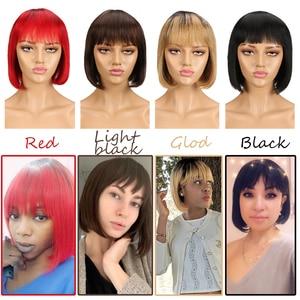 Sleek Short cut Bob Wig Remy Human Hair Wigs With Bangs Brazilian Red Silky Straight 8 Inch 150% Density Blue Pixie Cut Wig(China)