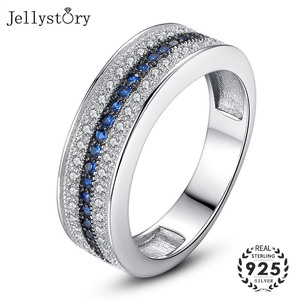 Jellystory 925 Sterling Silver Ring with Round Sapphire Zircon Gemstone Fine Jewelry ring for Women Wedding Party Gift wholesale(China)