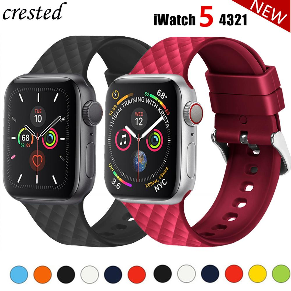 Silicone Strap For Apple Watch 5 Band 44mm 40mm Iwatch Band 38mm 42mm Rhombic Pattern Watchband Bracelet Apple Watch 4 3 2 1 38