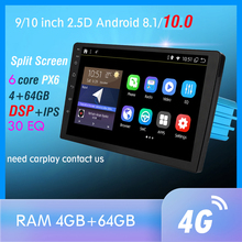 Reproductor Multimedia Universal con GPS para coche, Radio con reproductor DVD, Bluetooth, WIFI, MirrorLink, DSP, OBD2, 4GB + 64GB, 6 núcleos, Android 10,0, PX6