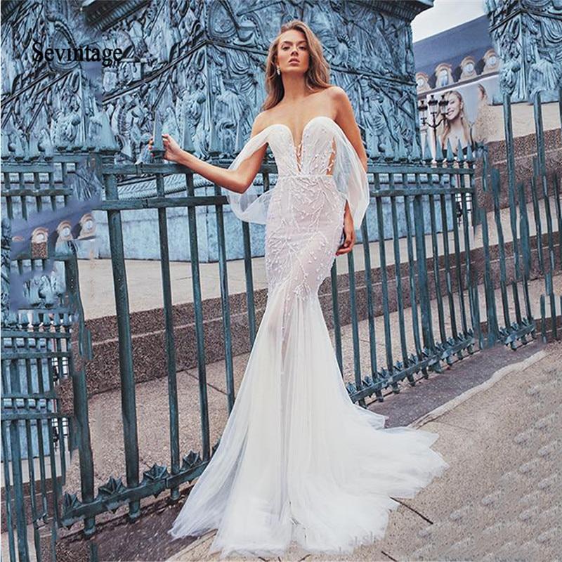 Sevintage Mermaid Boho Wedding Dresses Lace Appliqued Off the Shoulder Bridal Gowns Backless Vestido De Noiva Princesa