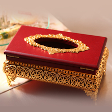 Ktv imitation wood gold plated tissue box