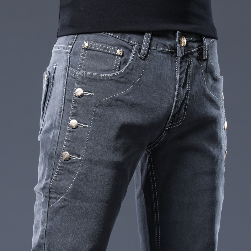 HO 2020 Teenagers Pocket Decoration Fashion Jeans Men's Cultivate One's Morality And Feet Grey Denim Trousers
