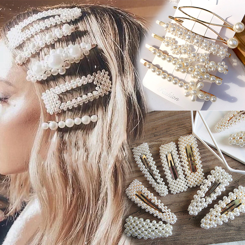 Simulation Pearl Barrette Set Hair Accessories For Women Fashion Wedding Jewelry Gold Silver Bead Hairpins Clip Girls Headwear