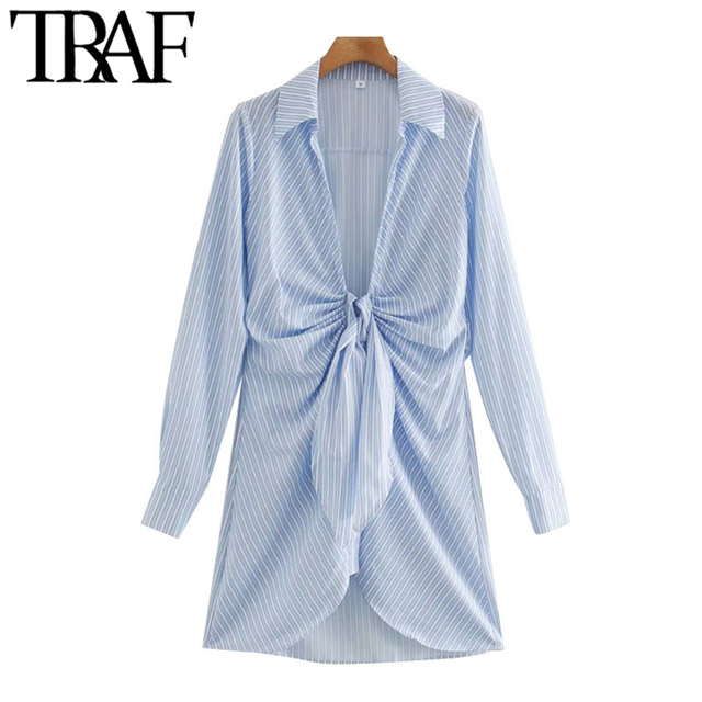 TRAF Women Chic Fashion With Knot Striped Pleated Mini Dress Vintage Long Sleeve Irregular Female Dresses Mujer 1