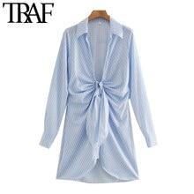 Traf moda feminina chique com nó listrado plissado mini vestido vintage manga longa irregular vestidos femininos mujer