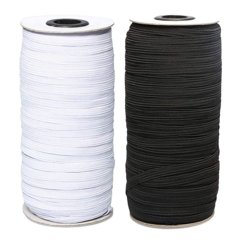 4mm 5mm 6mm 8mm 10mm 12mm 14mm Flat Rubber Elastic Cord Band Masks Rope Stretch For Cloth Garment Sewing Accessories Black White