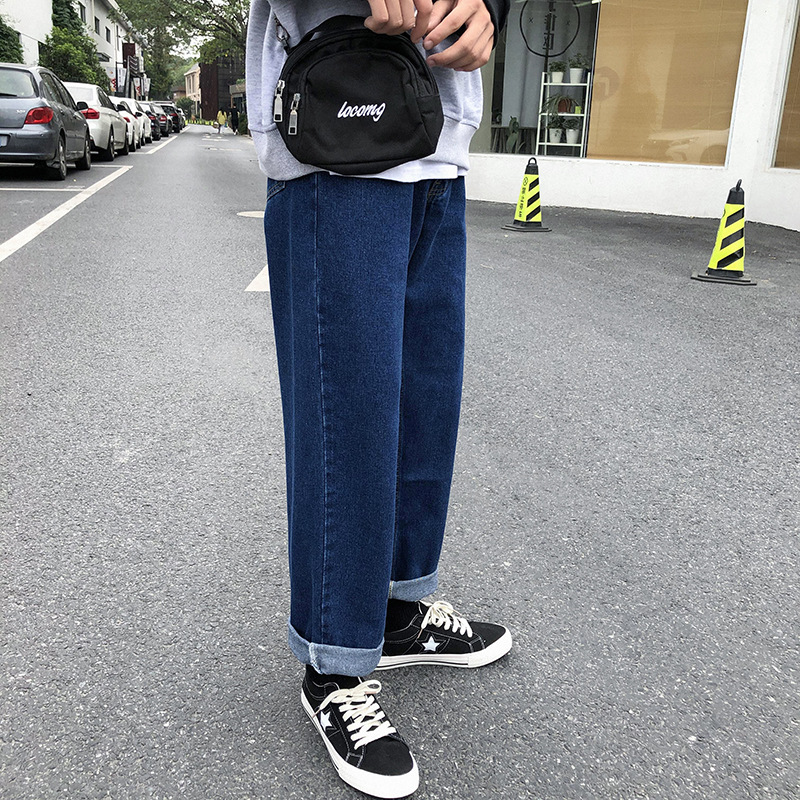 New Men`s Wide Leg Jeans Denim Trousers Casual Loose Male Straight Pants Solid Color Hip Hop Trousers Streetwear Plus Size (7)