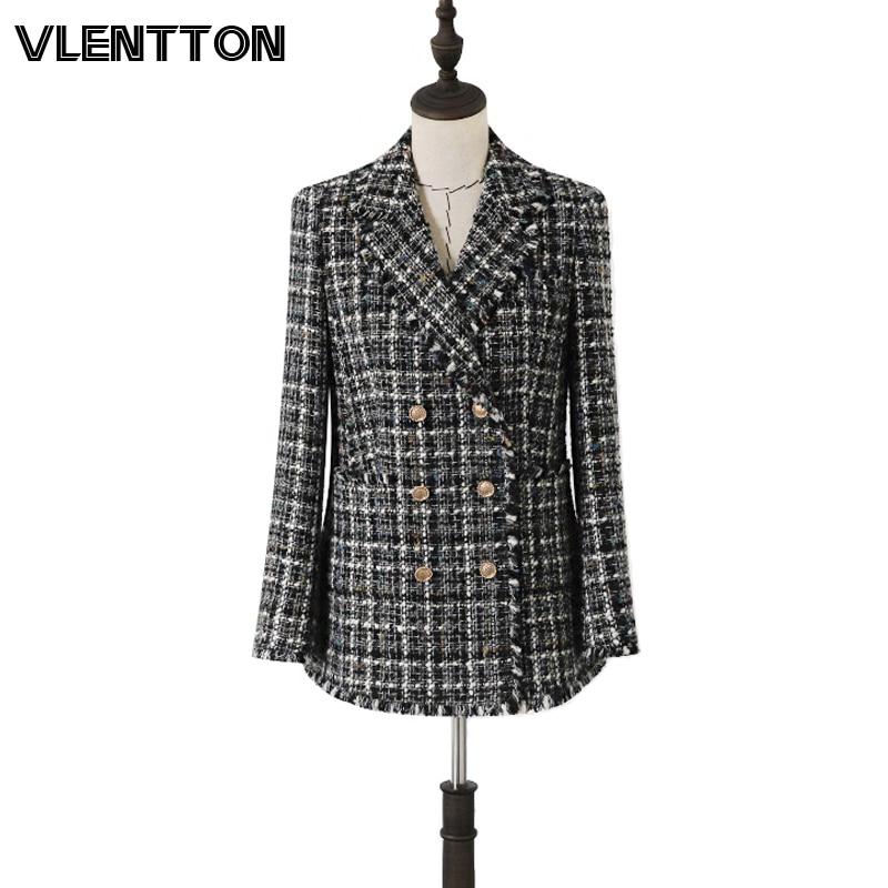 2020 Spring Autumn Vintage Plaid Wool Tweed Blazer Women Metal Button Tassel Slim Suit Jacket Coat Female Office Blazers Mujer