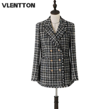 2020 Spring Autumn Vintage Plaid Wool Tweed Blazer Women Metal Button Tassel Slim Suit Jacket Coat Female Office Blazers Mujer