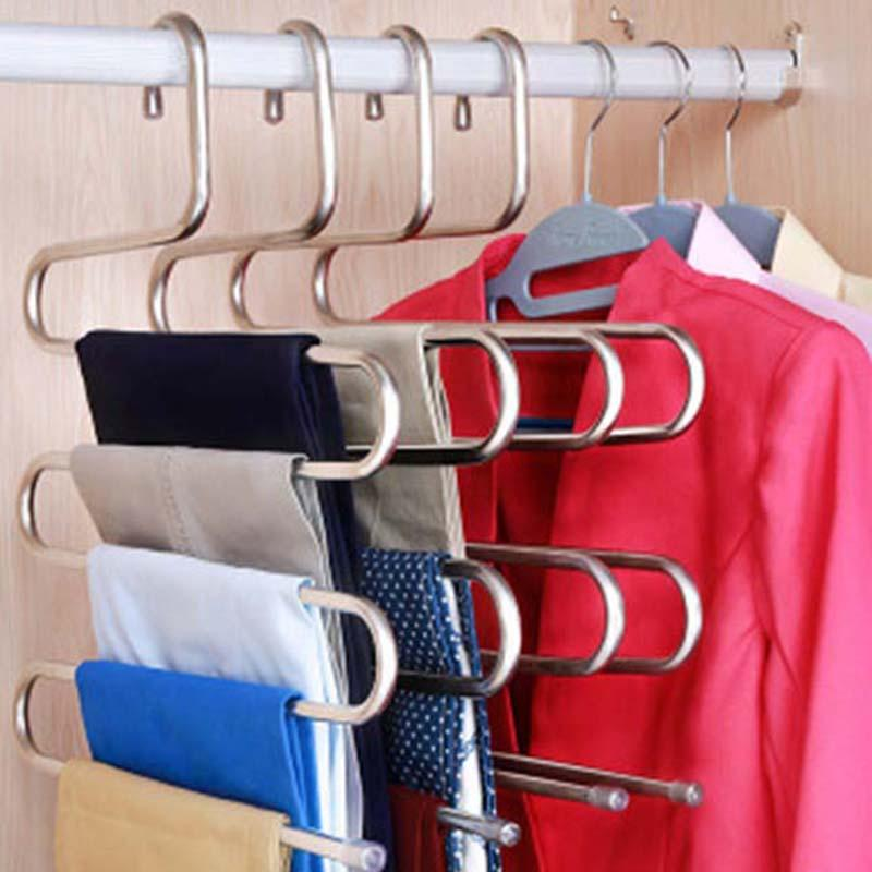 28  5 Layers S Shape MultiFunctional Clothes Hangers Pants Storage Hangers Cloth Rack Multilayer Storage Cloth Hanger 1PC