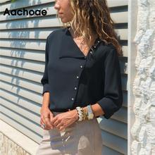 Шифоновая Блузка, модные женские блузки с длинными рукавами и топы, однотонная офисная рубашка, повседневные топы, шифоновые Блузы