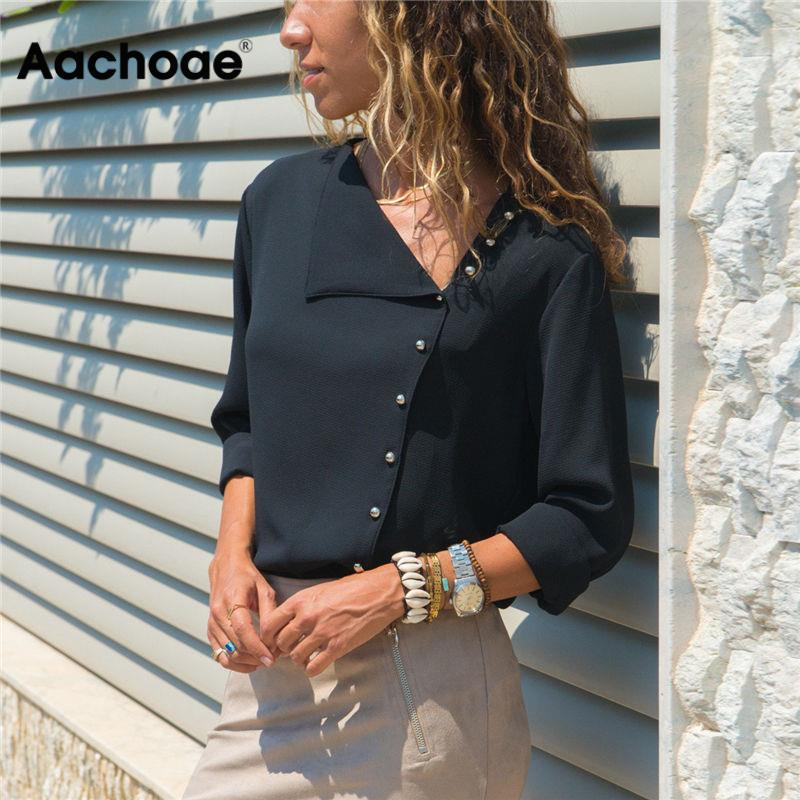 Aachoae Blouse 2020 Fashion Long Sleeve Women Blouses and Tops Skew Collar Solid Office Shirt Casual Tops Blusas Chemise Femme(China)