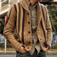 Maglione da uomo colletto rovesciato Cardigan lavorato a maglia manica lunga Streetwear autunno inverno Casual cappotto di lana spesso sciolto giacca Casual da uomo