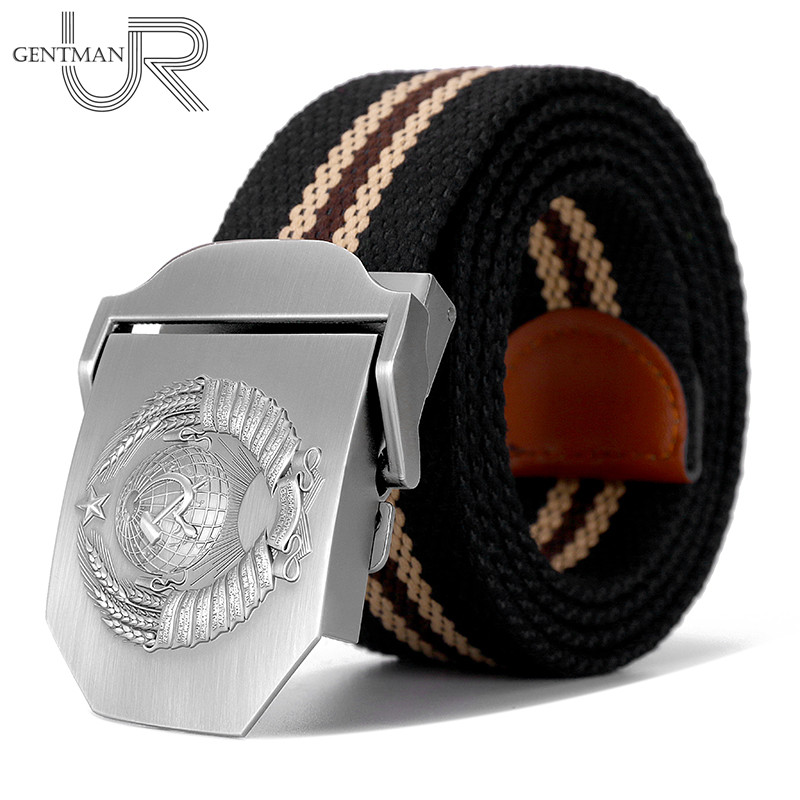 New Men & Women High Quality   Belt   3D Soviet National Emblem Canvas Military   Belt   Soviet Memory CCCP Luxury Jeans Tactical   Belt