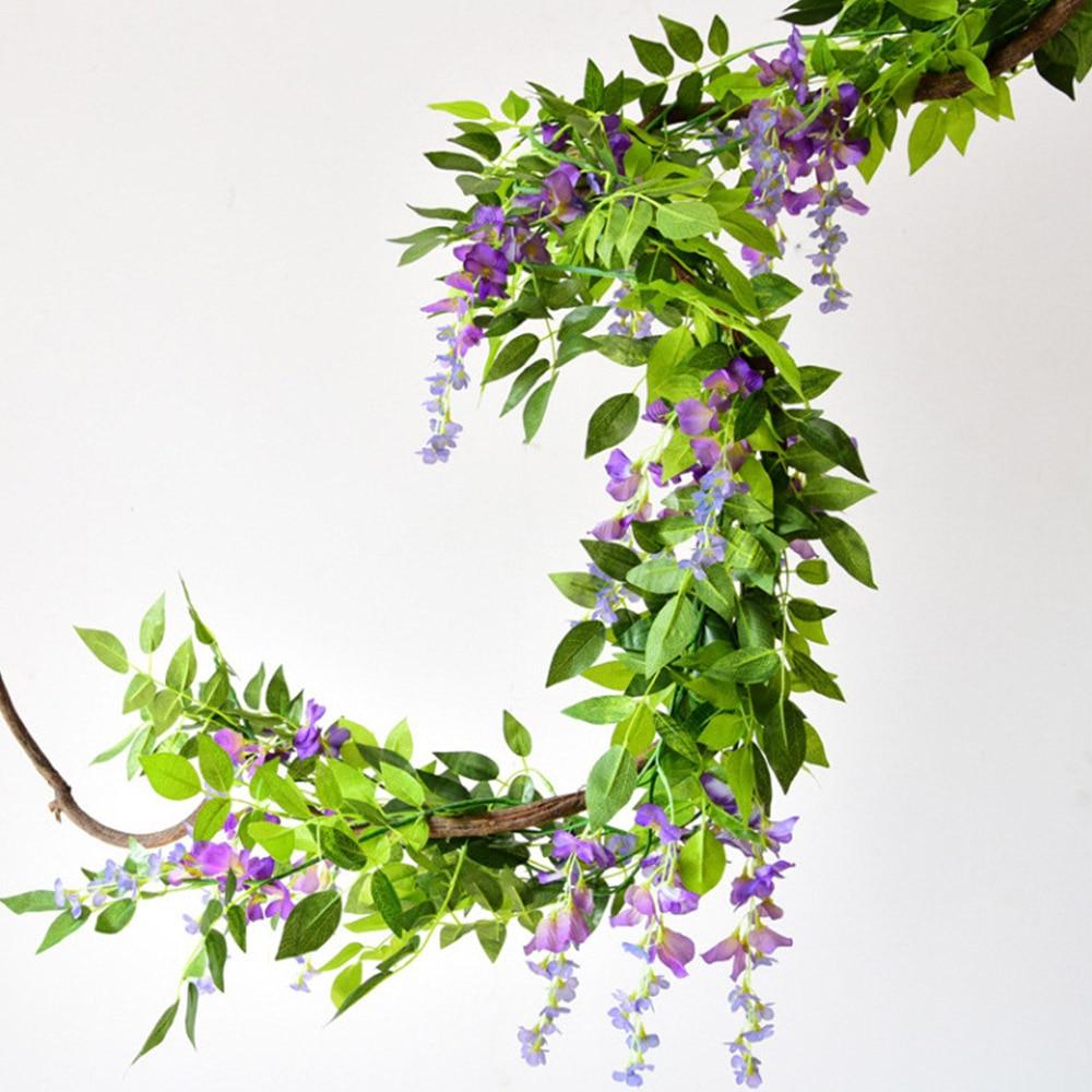 2M Flower String Artificial Wisteria Vine Garland Plants Foliage Wedding Arch Decoration Fake Flower Rattan Hanging Wall Decor 3