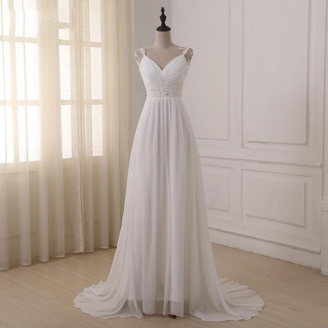 Jiayigong Beach Wedding Dress vestido de noiva In Stock Plus Size Spaghetti Straps Beading Chiffon Wedding Gowns Bridal Dresses 1
